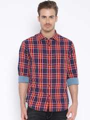 Indian Terrain Navy & Red Checked Slim Casual Shirt