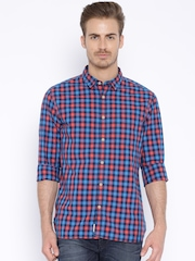 Indian Terrain Navy Checked Slim Casual Shirt