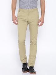 Indian Terrain Beige Brooklyn Slim Fit Trousers