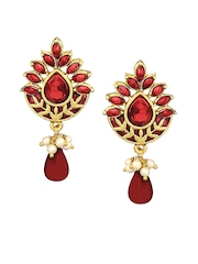 Peora Gold-Plated & Red Drop Earrings