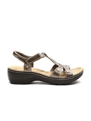 Clarks Women Bronze-Toned Leather Heels