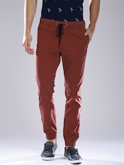 Breakbounce Rust Red Printed Street Smart Jogger Trousers