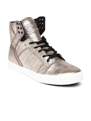 Supra Men Rose Gold-Toned Shimmery High-Top Leather Sneakers