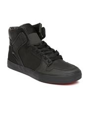 Supra Men Black Vaider High-Top Leather Sneakers
