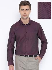 Arrow New York Purple & Black Slim Fit Formal Shirt