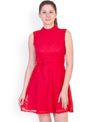 ANTS Red Lace A-Line Dress