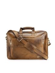 Teakwood Leather Unisex Tan Brown Genuine Leather Laptop Bag