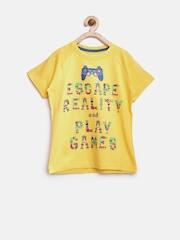Allen Solly Junior Boys Yellow Printed T-shirt