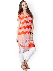 Global Desi Orange & White Printed Tunic