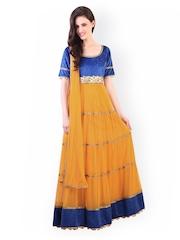 Libas Orange & Blue Anarkali Churidar Kurta with Dupatta
