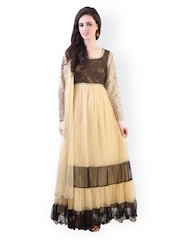 Libas Beige & Brown Anarkali Churidar Kurta with Dupatta