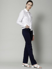 Marks & Spencer Navy Embellished Roma Rise Straight Fit Jeans