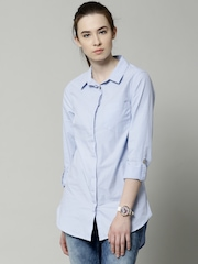 Marks & Spencer Blue Pure Cotton Long Shirt