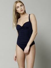 Marks & Spencer Navy Twisted Front Tummy Control Swimsuit 2820