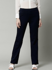 Marks & Spencer Navy Flat Front Slim Leg Formal Trousers