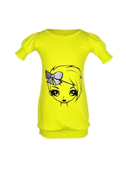 Lil Orchids Girls Yellow Printed T-shirt