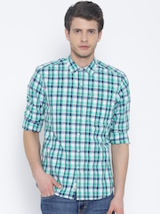 Lee Green & Off-White Checked Smart Slim Casual Shirt