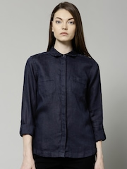 Marks & Spencer Navy Pure Linen Shirt