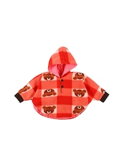 Snuggles Infant Girls Orange & Pink Reversible Hooded Poncho