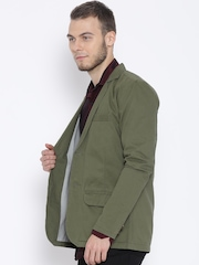 FIFTY TWO Olive Green Single-Breasted Casual Blazer