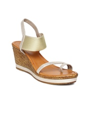Inc.5 Women Muted Gold-Toned Shimmer Wedges