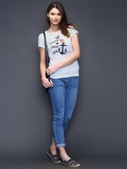 SELA Grey Melange Printed T-shirt