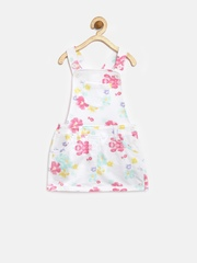 United Colors of Benetton Girls White Floral Print Dungarees