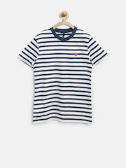 United Colors of Benetton Boys White Striped T-Shirt