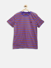 United Colors of Benetton Boys Maroon Striped T-Shirt
