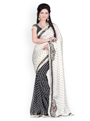 Satrani Black & White Printed Chiffon Saree