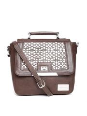 Satya Paul Brown Leather Satchel with Cutwork