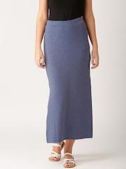 ETHER Navy Melange Maxi Skirt