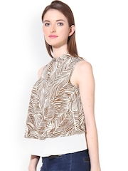 Oxolloxo Brown & White Printed Top