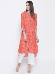 BIBA Orange Striped Kurta