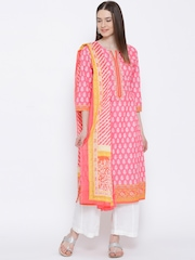BIBA Pink & White Printed Kurta with Palazzo Trousers & Dupatta