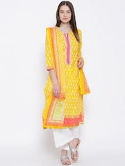 BIBA Yellow & White Printed Kurta with Palazzo Trousers & Dupatta