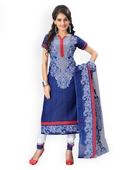 Vaamsi Blue & White Printed Crepe Unstitched Dress Material