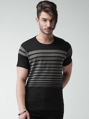 Moda Rapido Black & Grey Striped T-shirt