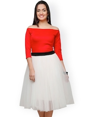 Eavan Red & White Fit & Flare Dress