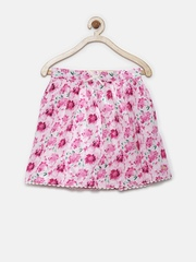 Elle Kids Girls Pink Floral Print Flared Skirt