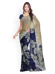 Ligalz Beige & Blue Georgette Printed Saree
