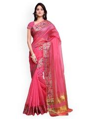 Inddus Pink Silk & Cotton Banarasi Saree
