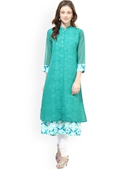 La Firangi Green Printed Layered A-Line Kurta