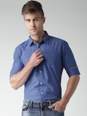 Mast & Harbour Blue Fil-a-Fil Slim Casual Shirt