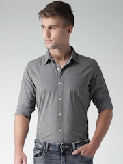 Mast & Harbour Charcoal Grey Fil-a-Fil Slim Casual Shirt