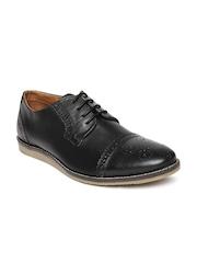 Allen Solly Men Black Leather Brogue Shoes