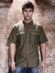 Harley-Davidson® Olive Green Wrinkle-Resistant Twill Tape Shirt