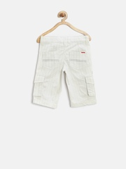 People Boys Off-White Striped 3/4th Cargo Shorts