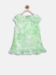 People Girls Green Tie-Dyed Top