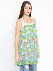 Global Desi Off-White & Green Printed Tunic